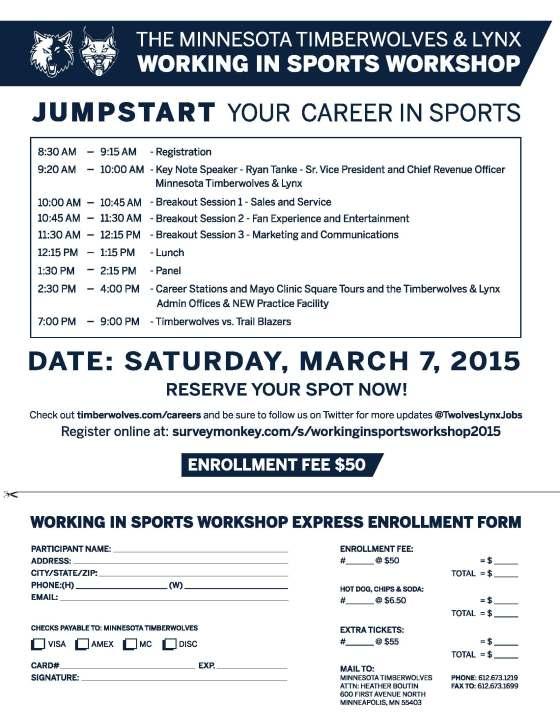 2015 Working in Sports Workshop Registration Flyer